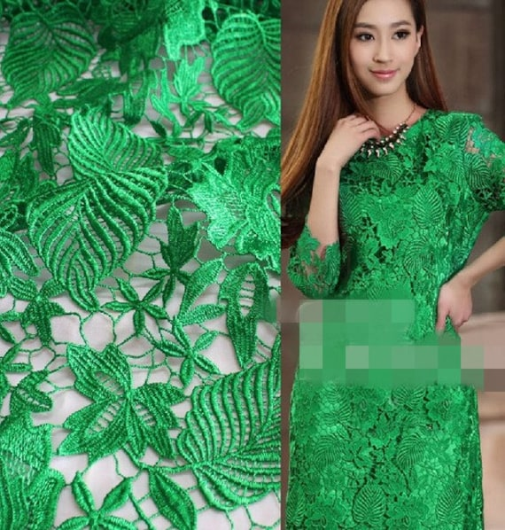 Green leaf floral lace fabric embroidered hollow