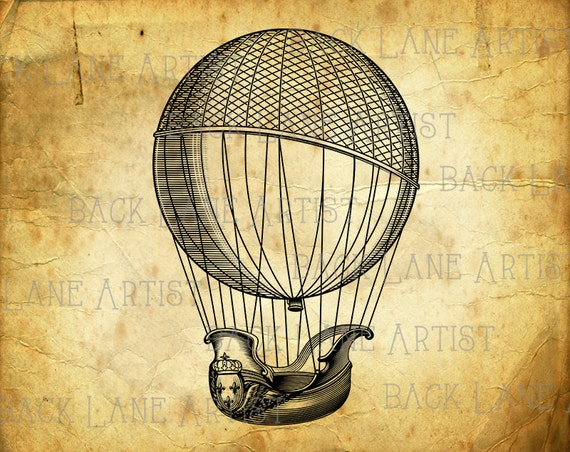 Transparent balloons png picture - Vintage Hot Air Balloon Clipart Lineart Illustration Instant