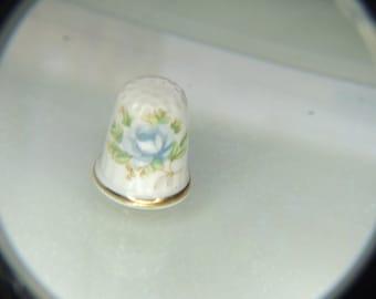 Porcelain Gold Trim Blue Rose Thimble