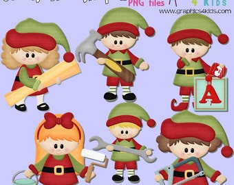 Santas workshop 2 Christmas Digital Clipart - Clip art for scrapbooking, party invitations - Instant Download Clipart Commercial Use