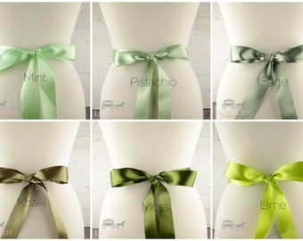 Wedding Sash - Green Sash - Bridal Sash - Bridesmaids Sash - Flower Girls Sash - Bridal Belt - Wedding Theme Sash - Green Wedding Theme