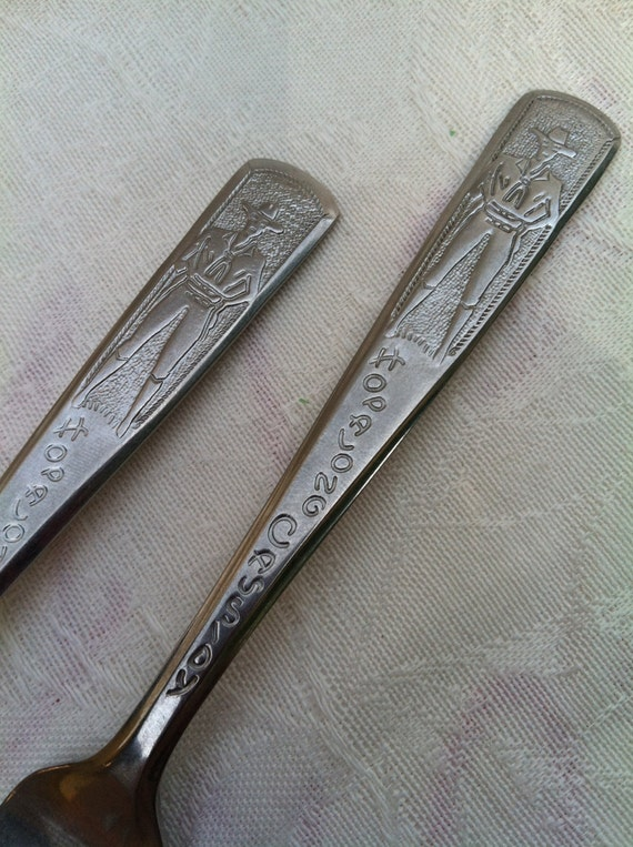 hopalong cassidy fork and spoon set 1950 u0026 39 s usa stainless