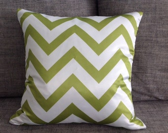 Olive Green Chevron Pillows - Zig Zag Pillow Cover With Zipper 45cm x 45cm Double Side Printed