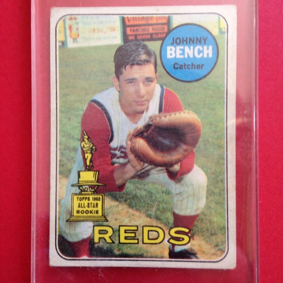 johnny bench 196 9topps rookie card by maryndipity on etsy