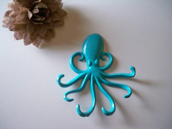 Octopus cast iron key hook shabby chic decor wall hook - Octopus towel hooks ...