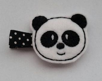 Panda felt hair clip