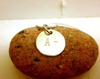 Blood Type pendant, Sterling silver pendant with your Blood Type.