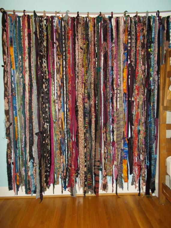 Gypsy Boho Free Spirited Fabric Yarn Bead Garland Banner Room