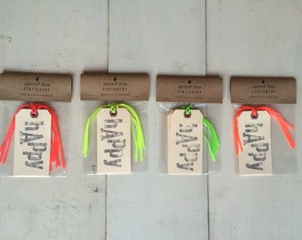 HAPPY Hand-stamped Gift Tag | Set of 6