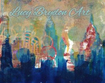 New York skyline - art print of original gelatin print