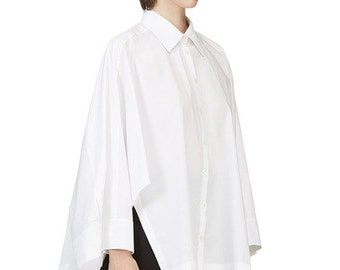 White Long Sleeve Lapel Cape Style Blouse