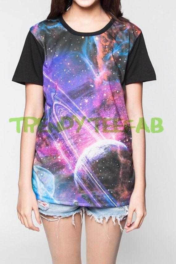 Galaxy T-Shirt Cosmic Nebula Tee Shirts Women Black Tshirt