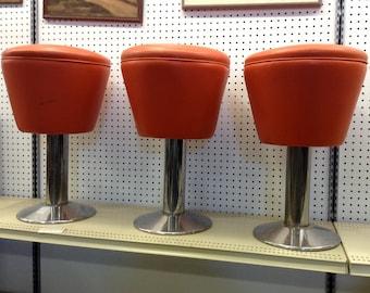 Vintage Diner Stools,  1970s Ice Cream Parlour Stools, Chrome and Leather Retro Stools, Mid-Century Bar Stools