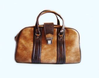 Vintage Caramel brown leatherette - Travel Bag, Suitcase- luggage, carry on bag,  Retro Brown from 70s, suitcase, buckle bag