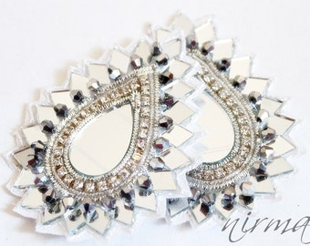 "2 pcs Paisley Mirror Rhinestone White Silver Bead Applique, Flower Mirror Beaded patch, Bridal Applique, White Silver rhinestone applique 3"""