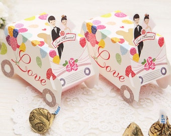 25pcs  Wedding Gift Card Boxes Sweet Candy Party Favor Box (Just Married & Love)