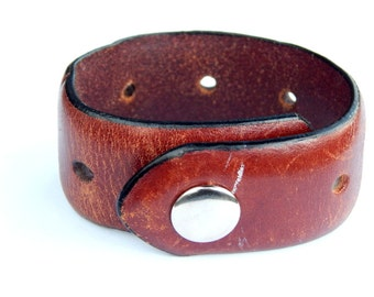 Men's distressed Leather Cuff bracelet mens leather bangle Mens Cuff Bracelet