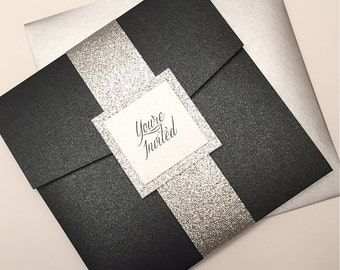 Black and Silver Wedding Invitation, Silver Glitter Pocketfold Invitation,  Black Pocket Wedding Invitation