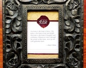 "Baha'i ""Greatest Name"" Embossed on a Red Rose Petal Set in a Carved Wooden Frame"