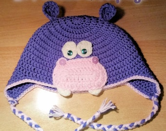 Crochet Hippopotamus Hat, earflap, in all sizes (newborn > children > adult), handmade, made in Italy