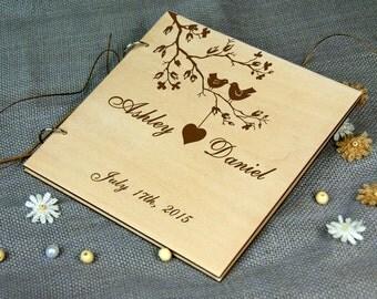 Custom Unique Wedding-Anniversary-Bridal shower guest book, Personalized gift, Memory album, Laser engraved, Rustic theme, Wedding decor.