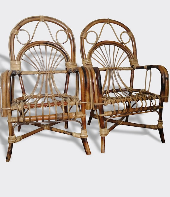 Etsy Vintage Bamboo Furniture: French Vintage Curved Bamboo Rattan Armchair 1950