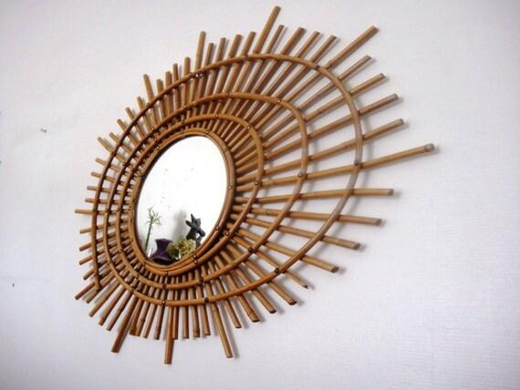 vendu grand miroir rotin vintage 1950 forme ellipse spirale. Black Bedroom Furniture Sets. Home Design Ideas