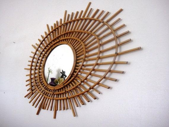VENDU - Grand Miroir rotin vintage 1950 forme ellipse Spirale