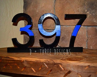 Police Officer Thin Blue Line Wooden Badge Number Decor
