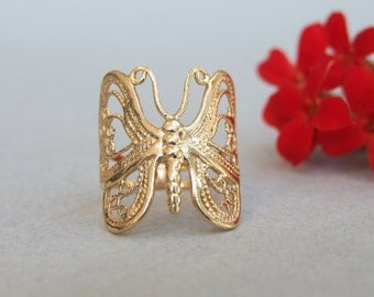 Butterfly Ring, 14K Gold Plated Ring