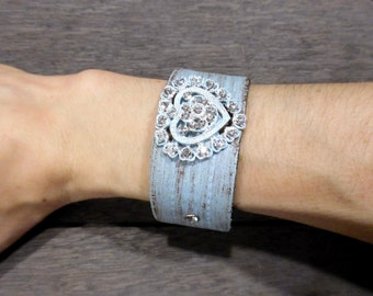 Women's Pretty Shabby Chic Sparkly Rhinestones Heart Distressed Turquoise Up-Cycled Leather Cuff Bracelet