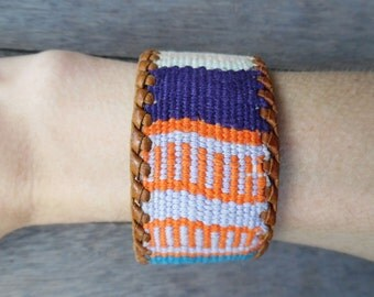 Southwest Style Colorful Earthy Woven Thread Striped Up-Cycled Leather Cuff Bracelet