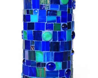 Stained Glass Mosaic Accent Table Lamp in Blue and  Turquoise