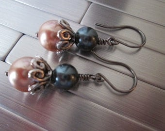 Rose Gold and Charcoal Grey Beaded Earrings