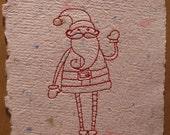 greeting card skinny santa claus embroidered handmade paper