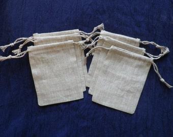15 pcs - Small Linen Bags - Rustic Linen Favor Bags - Natural Linen Bags, Size 4 x 5