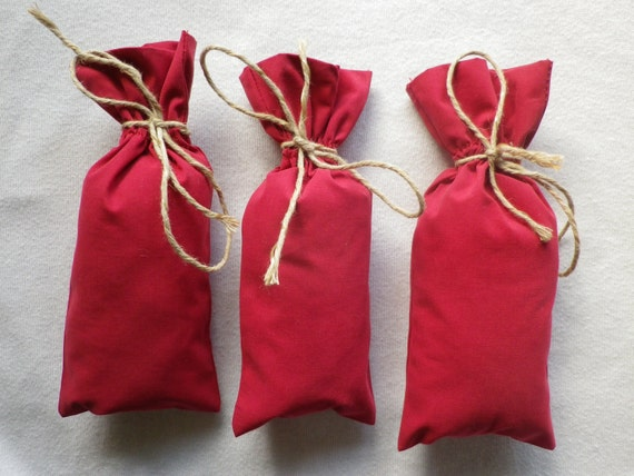Red Wedding Gift Bags : 20 pcs red cotton bags, gift bags, wedding gift bags, Size 4