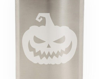 Scary Jack O' Lantern Etched Hip Flask 8oz