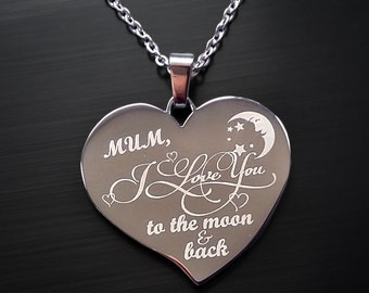 Love You to The Moon & Back Mother's Day Heart Pendant