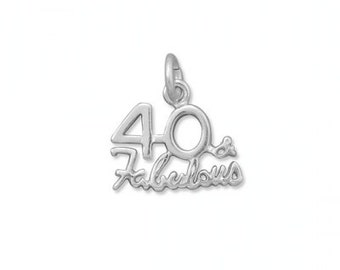 Forty and fabulous charm pendant in sterling silver.