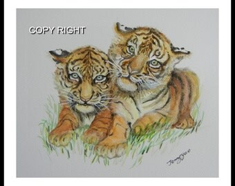 Original water color painting, Tiger Brothers 11x10 in paper with 0.5 in edges, brown, yellow, animal painting, tiger, 150102