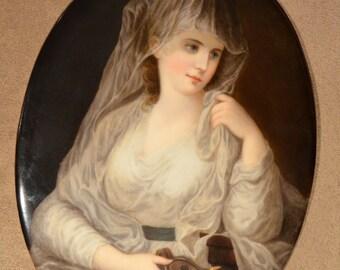"KPM Porcelain PLAQUE Vestal Virgin Lady with Lamp 7 1/2"" Tall"