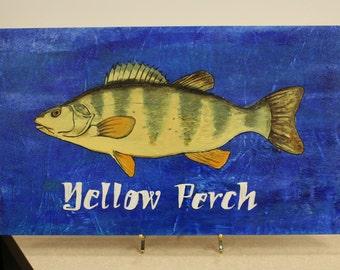Yellow Perch painting, abstract yellow perch, fish wall art, Fish original