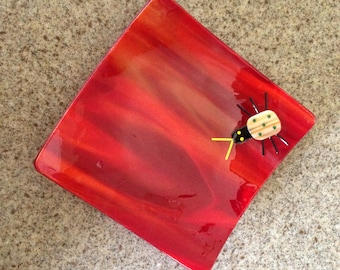 Red Fused Glass Bug Plate, Stained Glass