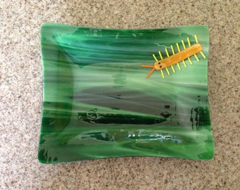 Green Fused Glass Bug Dish, Stained Glass