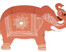 Pen stand traditional indian wooden gift handpainted in  elephant shape