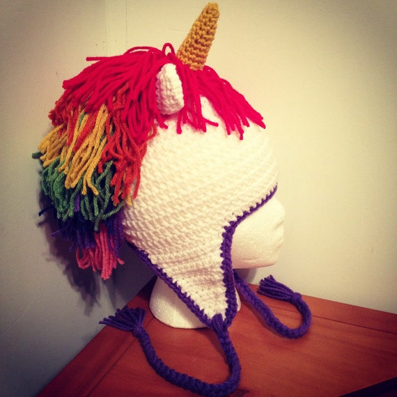 Crochet Unicorn Hat Pattern Free : Crocheted Unicorn Hat with Rainbow Mane by CleverCreativeCrafts
