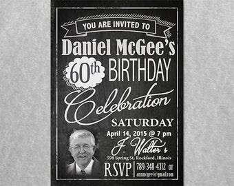 Chalkboard Birthday Invitation with photo