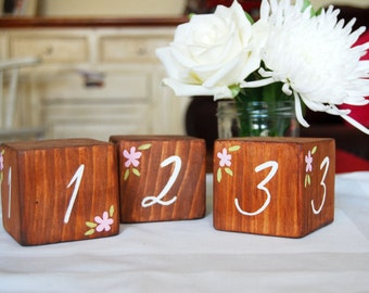 Wedding Table Number Decorations - Wooden Cubes