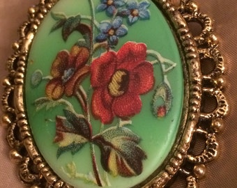 Signed WMAC Green & Golden Floral Cameo Brooch